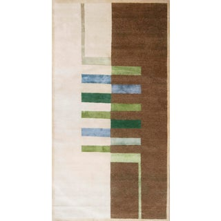 Modern Bauhaus Inspired Hand Knotted Graphic Rug- 6′1″ × 11′8″ For Sale