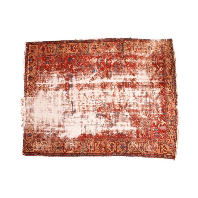 "Antique Distressed Heriz Carpet - 9'7"" x 12'2"" For Sale"