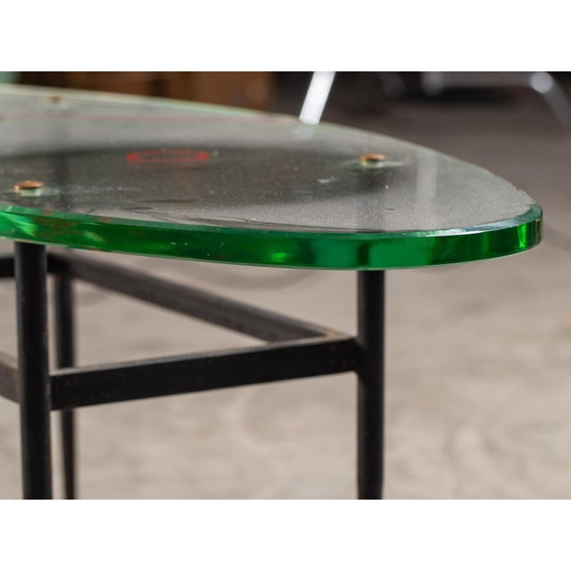 Vintage 1960s Italian Oval Coffee Table with Painted Glass Top For Sale - Image 12 of 13
