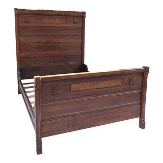 Antique Tudor Walnut and Burl Wood Full Bed Frame For Sale