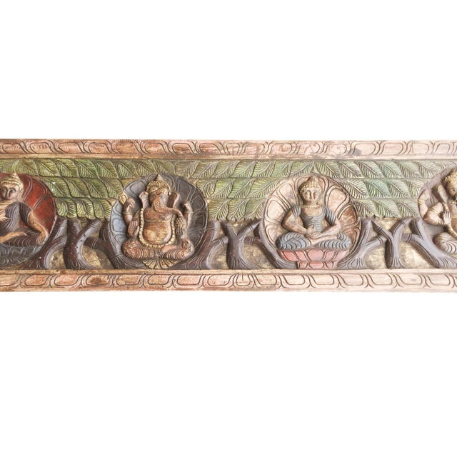 Indian hand carved wooden wall hanging of Buddha, Ganesha meditation Yoga Decor. Buddha each Mudra has a religious and...