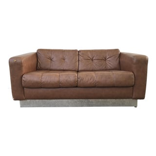 Brown Naugahyde and Chrome Loveseat Sofa