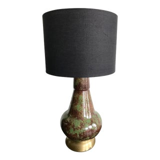 Vintage Mid Century Modern Avocado Green and Brown Ceramic Table Lamp For Sale