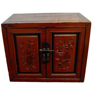 19th Century Chinese Red Lacquer Cabinet with Hand-Carved Doors