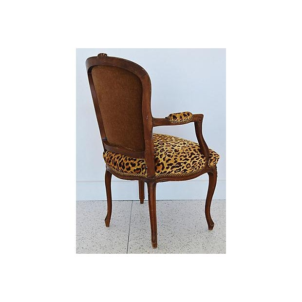 1950s Leopard Velvet Carved Armchair For Sale - Image 9 of 12