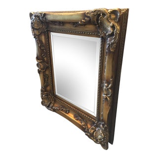 Solid Wood Decorative Framed Beveled Wall Mirror For Sale