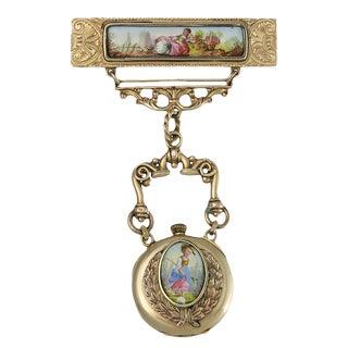 Victorian 14k Gold Enamel Watch Pin Brooch For Sale