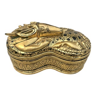 1980s Asian Gold Deer Box For Sale