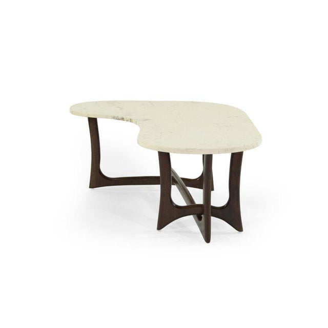 Danish Modern 1950s Asymmetric Marble-Top Coffee Table by Adrian Pearsall For Sale - Image 3 of 10