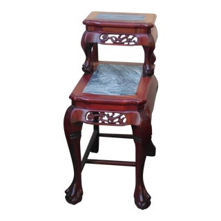 Chinese Carved Rosewood & Marble Tiered Table For Sale