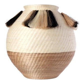 Fanned Out Large Bulbous Vase Cream/flax For Sale