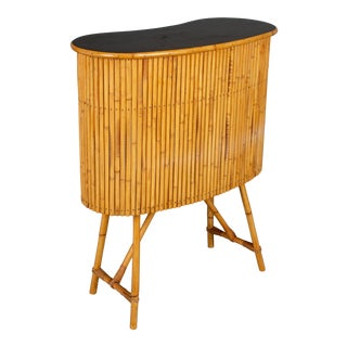 Mid Century French Riviera Bamboo and Rattan Bar For Sale