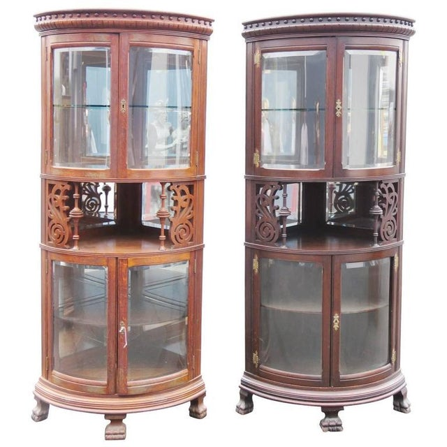 Brown Rare Companion Pair of Oak Carved Corner Cabinets For Sale - Image 8 of 8