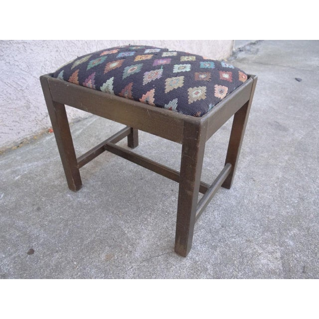Fabric Antique Chippendale Salesman Sample Doll Footstool For Sale - Image 7 of 11