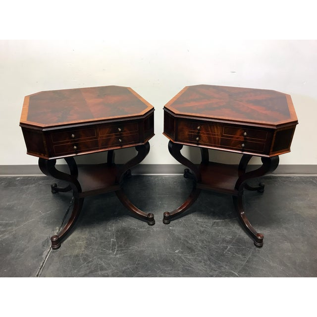 Weiman inlaid flame mahogany 2 tier end side lamp tables a pair weiman inlaid flame mahogany 2 tier end side lamp tables a pair image 2 mozeypictures Image collections