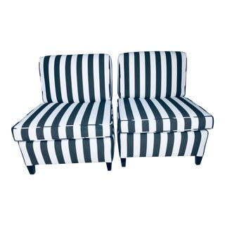 Sunbrella Upholsered Slipper Chairs - a Pair For Sale