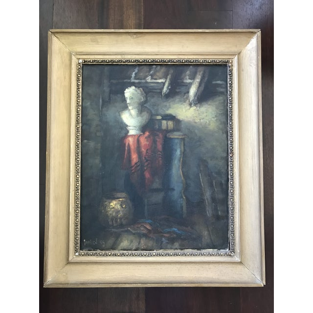 1950s Vintage Still Life with Marble Bust Framed Oil Painting For Sale - Image 4 of 10