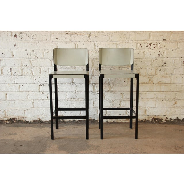 Mateo Grassi Sistina Italian Leather Counter Stools - A Pair - Image 3 of 8