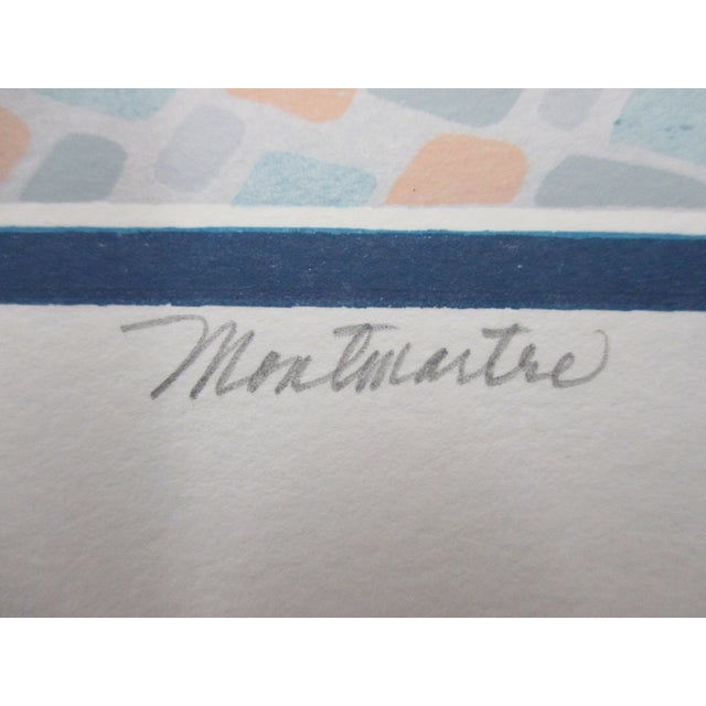 Mid-Century Modern Vintage Lithograph Titled: Montmartre Signed by the Artist: Grace For Sale - Image 3 of 6
