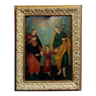 19th Century Spanish Colonial Icon Holy Family Oil Painting For Sale