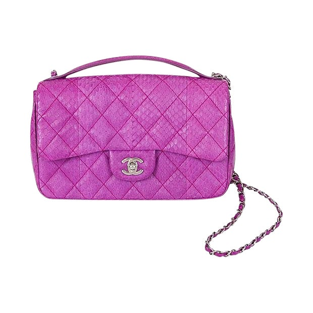 d13815010cc Chanel Purple Python Flap Bag   Chairish