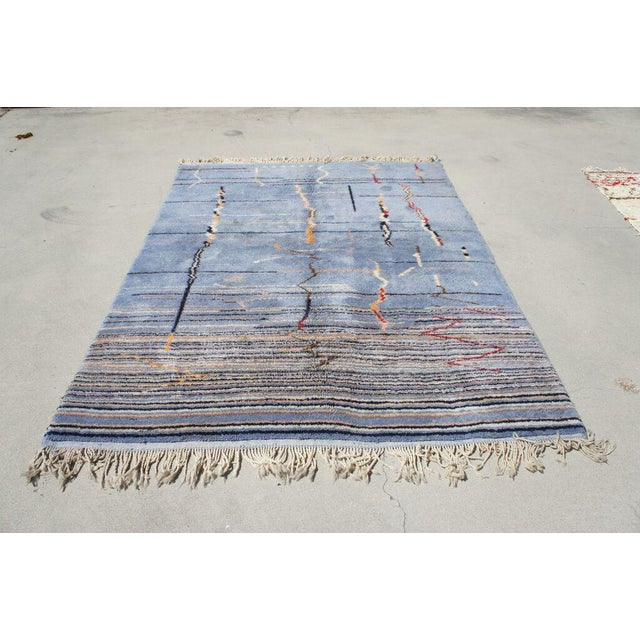 "Moroccan Light Blue Abstract Rug- 6'5"" x 9' - Image 2 of 7"
