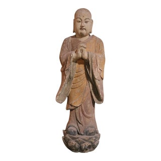 Mid 19th Century Wooden Monk Sculpture For Sale