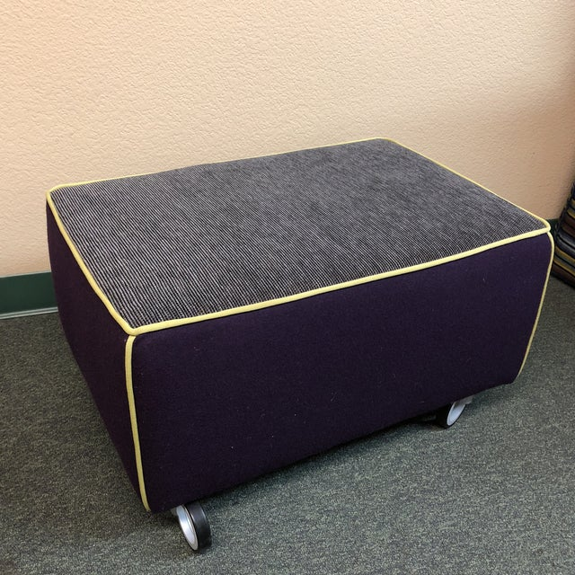 Fabric Modern Gervasoni for Environmental Designs Purple Fabric Upholstered Ottoman For Sale - Image 7 of 10