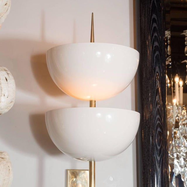Pair of Monumental Reverse-Dome Trophy Sconces in White Enamel and Brass - Image 4 of 10