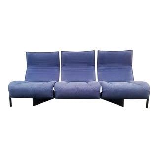 Vintage Mid Century Modern 3 Pieces Vico Magistretti for Cassina Blue Three Seat Veranda Sofa For Sale