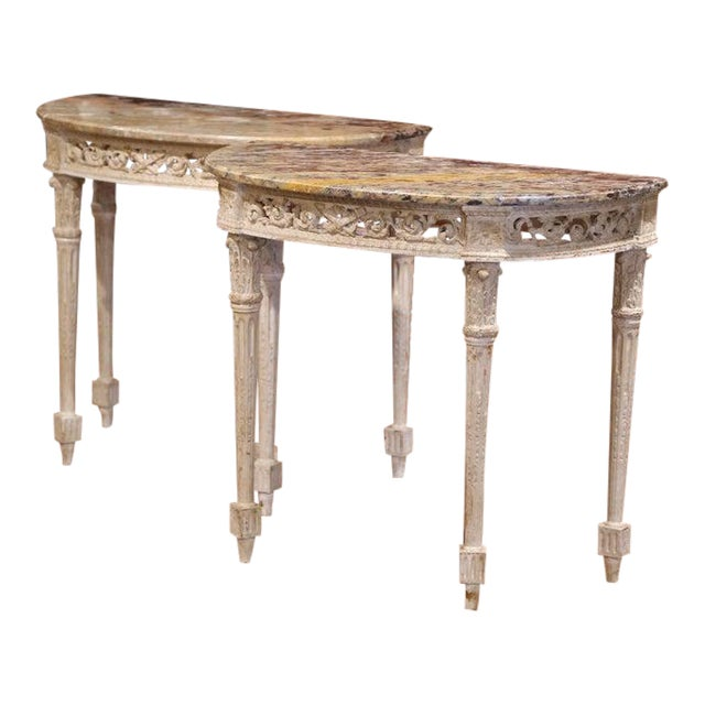 Pair of 19th Century Louis XVI Carved Painted Demilune Consoles With Marble Top For Sale