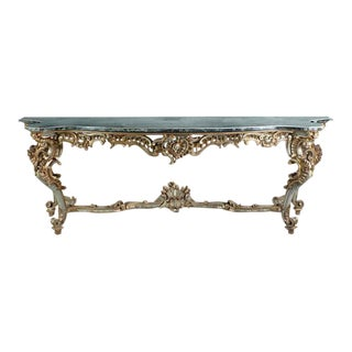 Large 19th Century Console in Carved Painted Wood and Marble For Sale