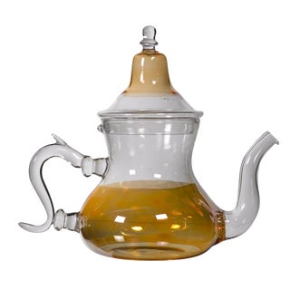 Moroccan Orange Glass Teapot For Sale