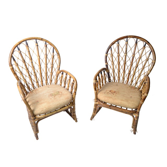 Rattan & Bamboo Dining Chairs - A Pair For Sale - Image 4 of 10