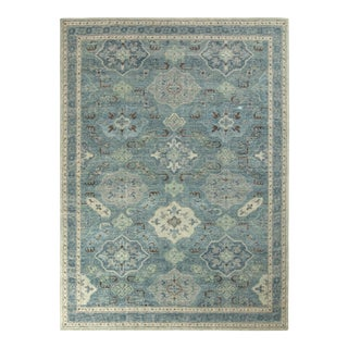 Rug & Kilim's Distressed Classic Style Rug in Blue and Gray Geometric Pattern