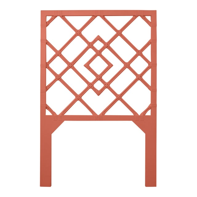 Chinoiserie David Francis Furniture for Chairish Darien Headboard Twin, Baked Terra Cotta For Sale - Image 3 of 3