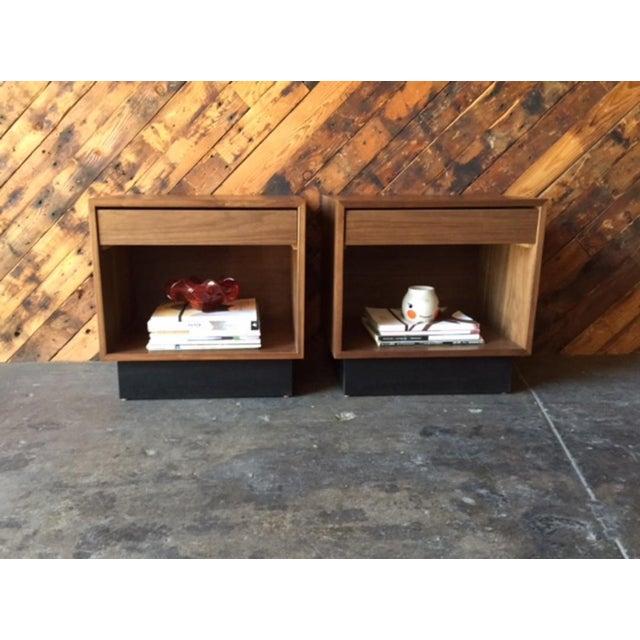 Custom Mid-Century Style Walnut Nightstands - A Pair - Image 7 of 7