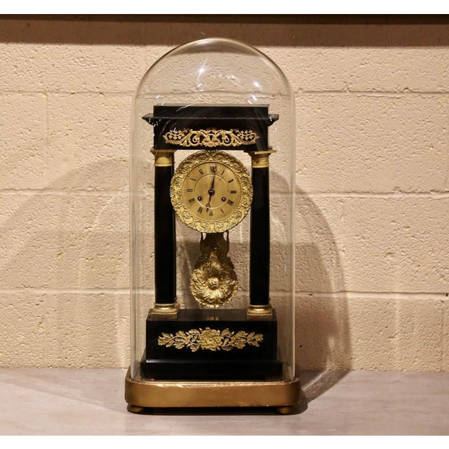 19th Century French Empire Portico Mantel Clock in Original Glass Dome For Sale - Image 12 of 12