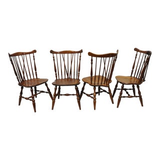 Vintage Mid-Century Ethan Allen Cherry Wood Windsor Chairs - Set of 4 For Sale