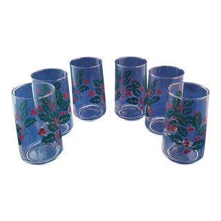 Set 6 Vintage Christmas Holiday Holly Berry Tumbler Drinking Glasses For Sale