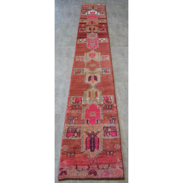 Distressed Oushak Rug Runner - Hand Knotted Narrow Hallway Rug - 1′ 11″ × 12′ 2″ For Sale - Image 4 of 9