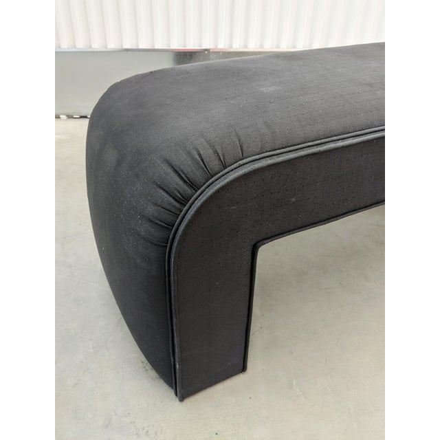Wood 1990s Modern Upholstered Waterfall Bench For Sale - Image 7 of 9