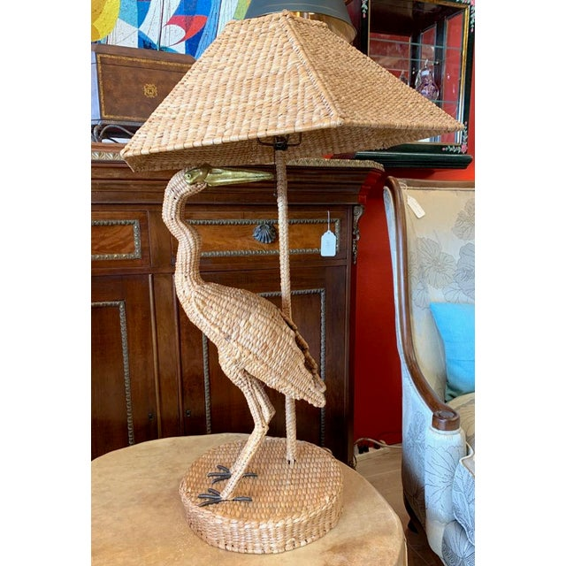 Vintage Mario Lopes Torres Large Egret Lamp For Sale In Tampa - Image 6 of 11