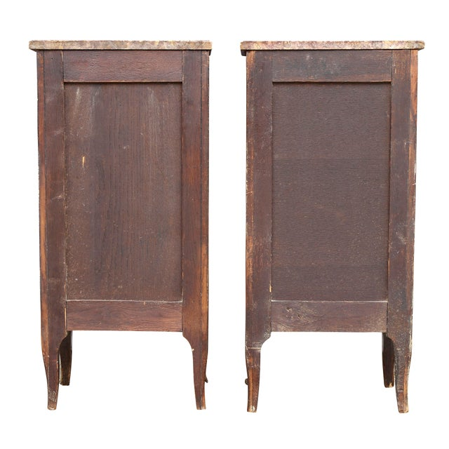 French Louis XV Style Tulipwood Petit Commodes - a Pair For Sale - Image 3 of 12