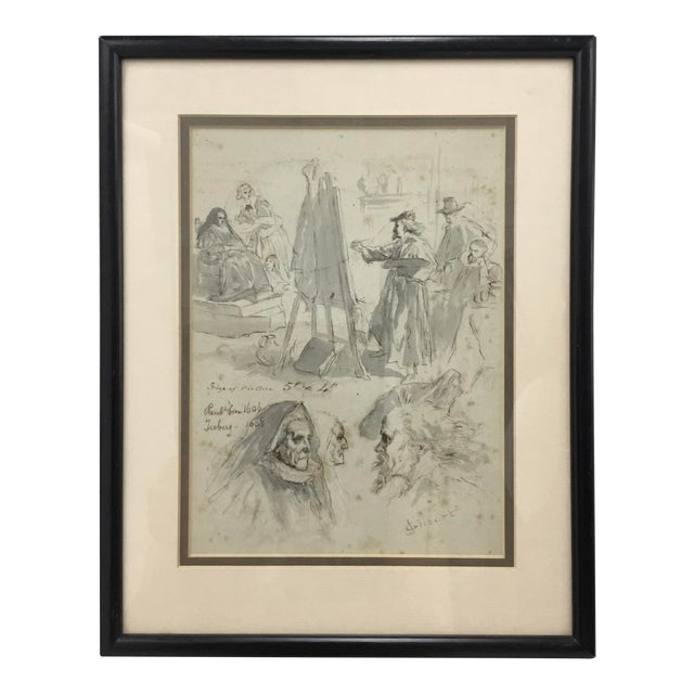Original Pen and Ink Study Drawing by Sir John Gilbert For Sale