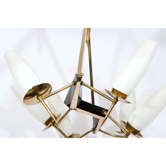 Gold Mid-Century French Chandelier with Adjustable Arms For Sale - Image 8 of 10