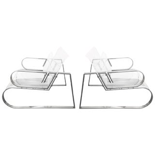 """Pair of """"Double Waterfall"""" Lounging Chairs by Charles Hollis Jones For Sale"""