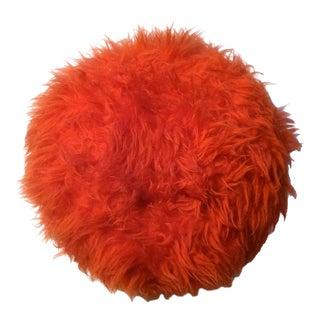 Electric Orange Faux Fur Round Decorative Pillow, 1970s