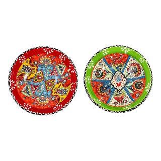 """Turkish Handmade Floral Ceramic 6"""" Bowls - Set of 2 For Sale"""