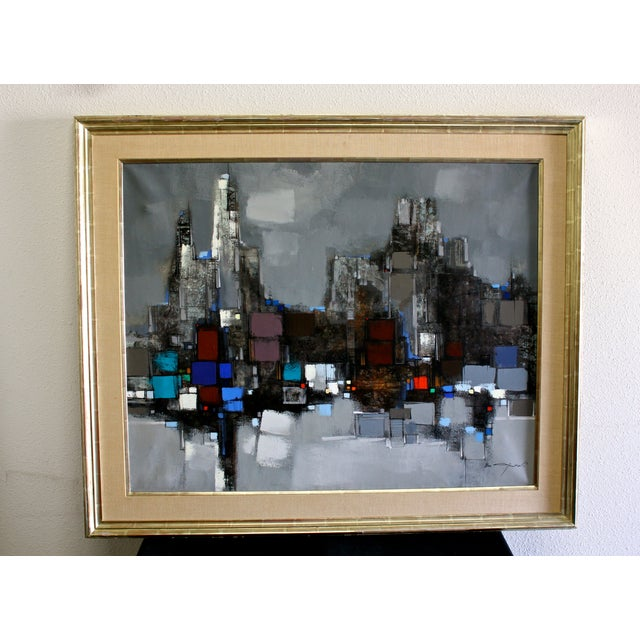 Mid-Century Modern abstract cityscape painting by Max Gunther (Swiss 1934-1974) A view of the Chicago Skyline entitled...
